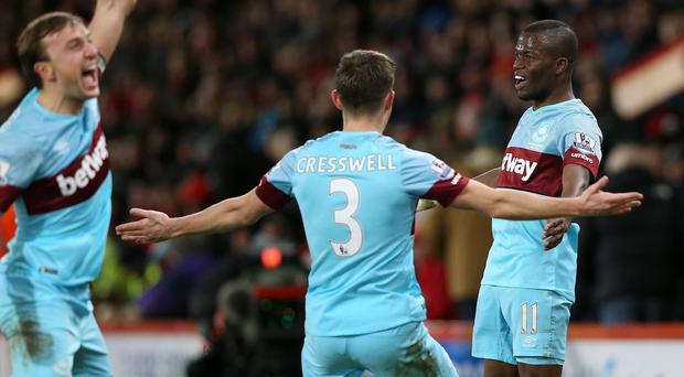 Enner Valencia, right, netted twice as West Ham came from behind on the south coast
