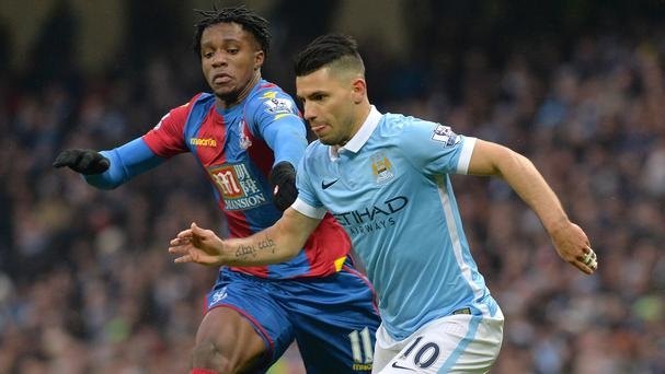 Sergio Aguero scored twice in Manchester City's 4-0 defeat of Crystal Palace