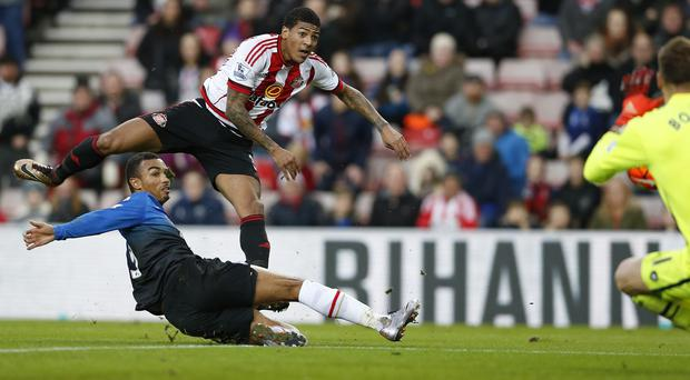 Sunderland's Patrick van Aanholt scores his side's equaliser against Bournemouth