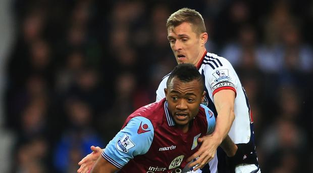 Jordan Ayew, left, was unfortunate not to get a penalty