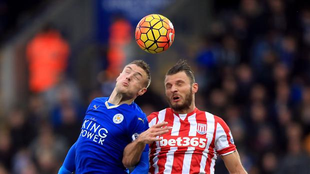 Jamie Vardy (left) got back amongst the goals against Stoke