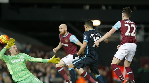 Sergio Aguero, centre, scored twice as Manchester City drew 2-2 at West Ham.
