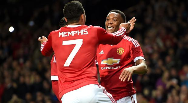 Manchester United's Anthony Martial, right, and Memphis Depay are among this season's costly purchases