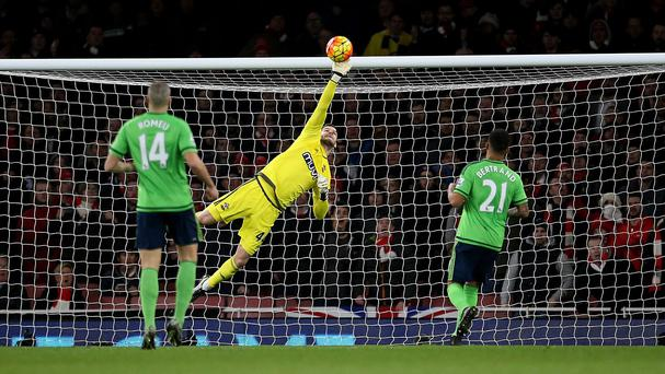 Southampton goalkeeper Fraser Forster kept Arsenal at bay