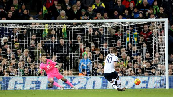 Harry Kane fires home his first goal from the penalty spot