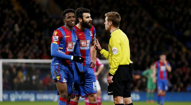 Crystal Palace were not happy with referee Mike Jones