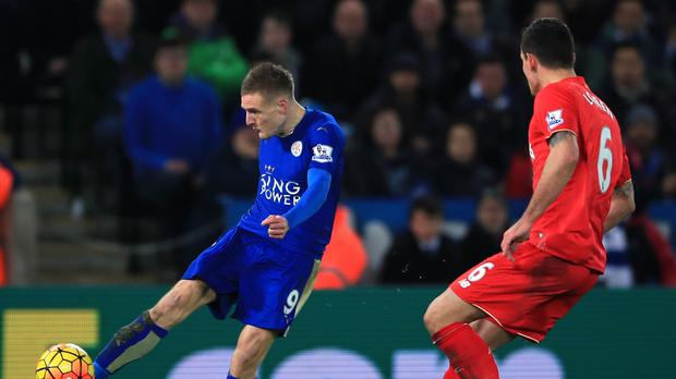 Jamie Vardy opens the scoring in Leicester's 2-0 win over Liverpool with a stunning goal.
