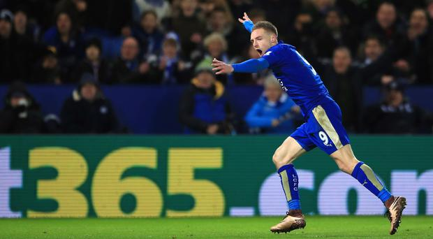 Jamie Vardy netted a stunning opener to help Leicester beat Liverpool 2-0