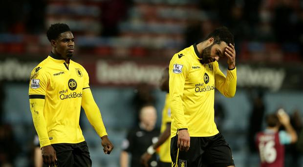 Micah Richards, left, and Joleon Lescott saw Aston Villa's relegation worries deepen at West Ham