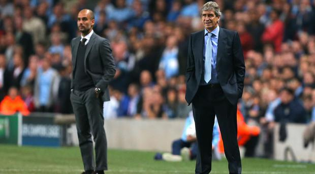 Pep Guardiola, left, will replace Manuel Pellegrini, right, as Manchester City boss in the summer