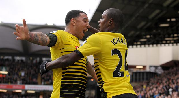 Quique Sanchez Flores would not swap Harry Kane for either Troy Deeney or Odion Ighalo, pictured