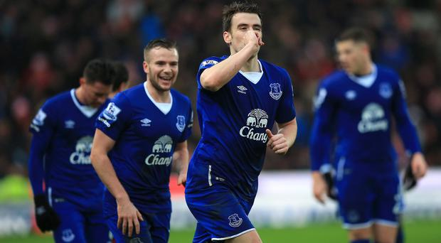 Seamus Coleman celebrates his goal