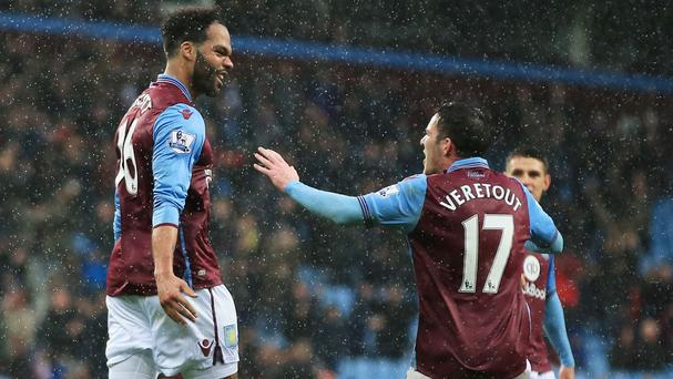 Joleon Lescott, left, celebrates his opener with Jordan Veretout in Aston Villa's 2-0 win over Norwich