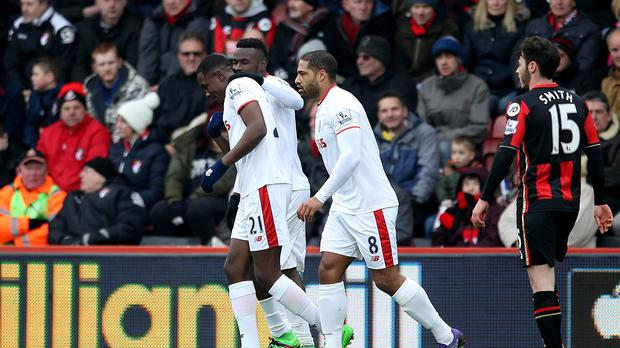 Giannelli Imbula, left, is congratulated after scoring Stoke's first goal