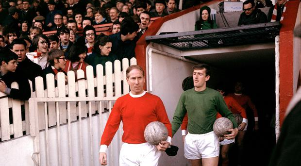Sir Bobby Charlton (left) pictured here with Alex Stepney in 1969