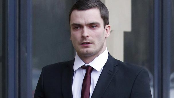 Adam Johnson sat in the dock watching the girl give her account on two large video screens in the court