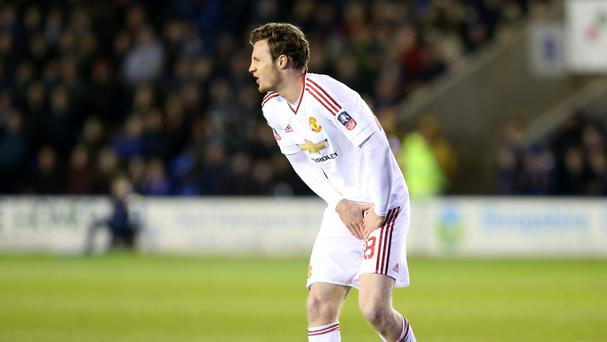 Manchester United's Will Keane was forced off with an injury not long after coming on in the victory at Shrewsbury.