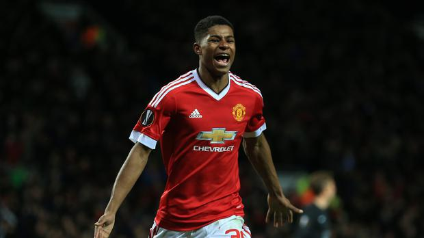Manchester United's Marcus Rashford marked his senior debut with a brace on Thursday.