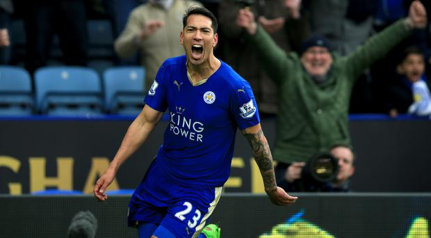 Leicester's Leonardo Ulloa celebrates after his late winner handed the Foxes a 1-0 victory over Norwich.
