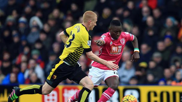 Bournemouth's Max Gradel (right) in action against Watford's Ben Watson during the 0-0 draw at Vicarage Road