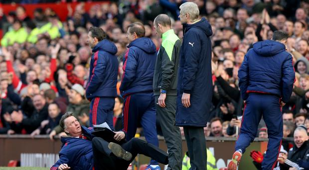 Louis van Gaal, left, made a rare foray onto the touchline in Manchester United's 3-2 win
