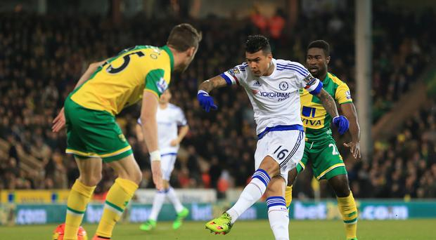 Chelsea's Kenedy, centre, scored the quickest goal of the Premier League season so far at Norwich on Tuesday night