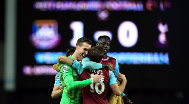 West Ham celebrated a famous win over rivals Tottenham at Upton Park