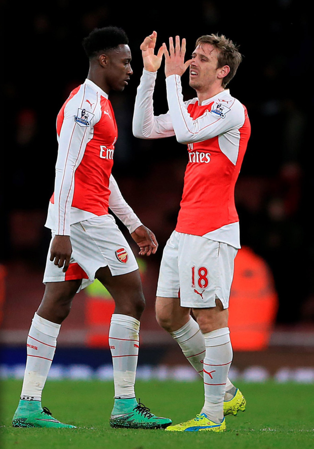 All going wrong: Danny Welbeck and Nacho Monreal look dejected after Arsenal suffer their second Premier League defeat in a row