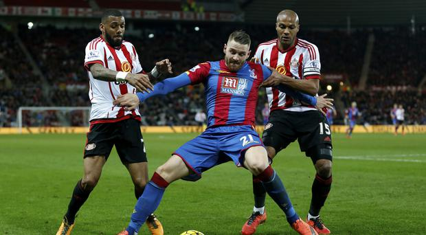 Crystal Palace's Connor Wickham suffered a thigh injury at Sunderland