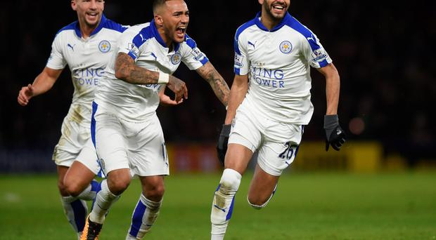 Pure delight: Danny Drinkwater, Danny Simpson and Riyad Mahrez hail the latter's winner