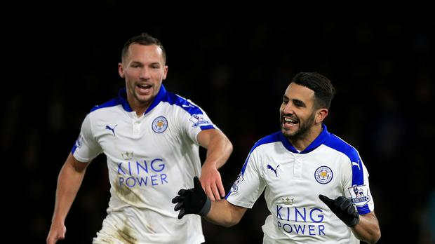 Leicester's Riyad Mahrez (right) celebrates his winner in the Foxes' 1-0 victory at Watford last week.