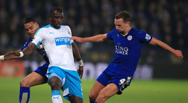 Newcastle's Moussa Sissoko (left) and Leicester's Daniel Drinkwater (right) battle for the ball during the Foxes' 1-0 win on Monday.