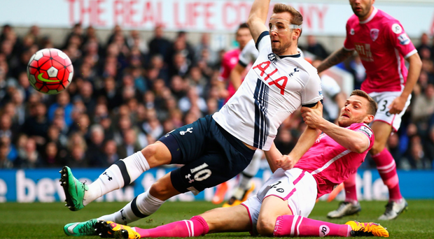 More than able: Harry Kane scores the first of his delightful double to get Spurs off to a flier