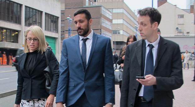 The closing remarks have been made at the employment tribunal of Jonas Gutierrez, centre, in Birmingham