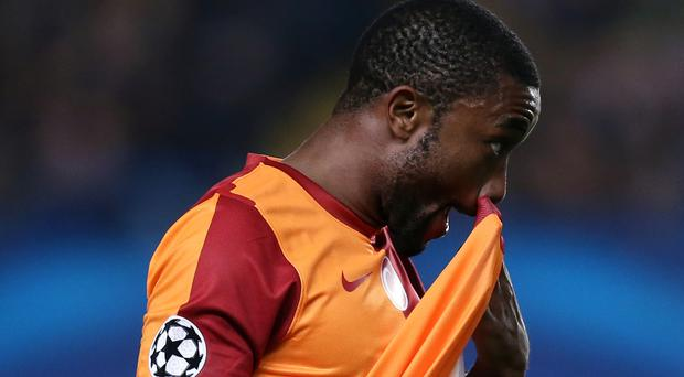 Emmanuel Eboue, pictured playing for Galatasaray, could serve a one-year ban