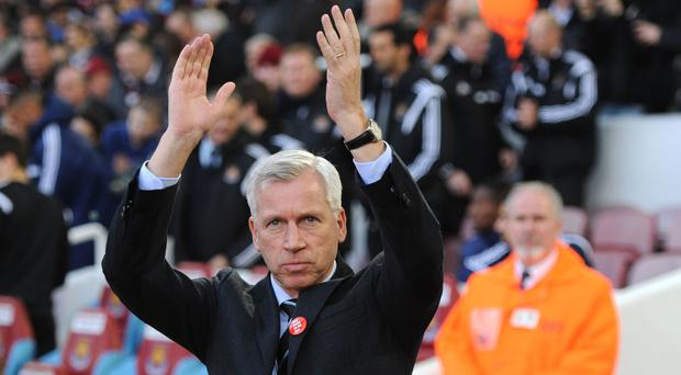 Alan Pardew will return to Upton Park for the final time as a manager on Saturday
