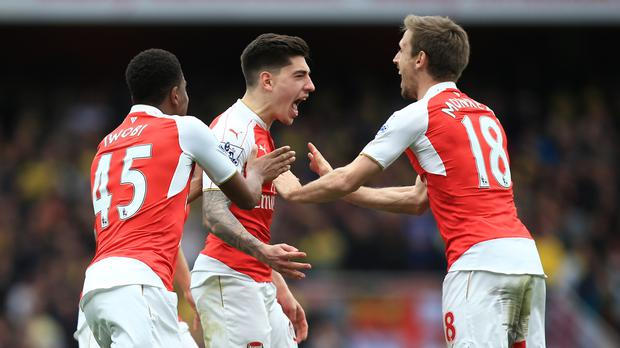 Arsenal's Hector Bellerin roars satisfaction at scoring his side's third goal