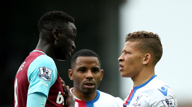 No appeal: Cheikhou Kouyate, left, was given his marching orders against Crystal Palace