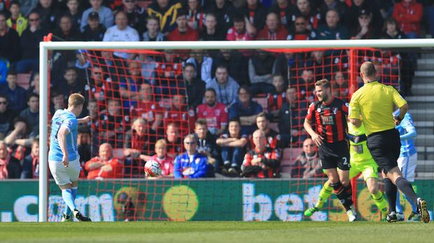 Kevin De Bruyne scored City's second goal of the game at Bournemouth