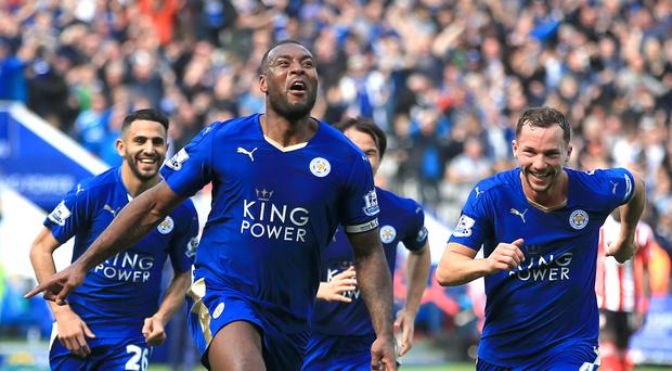 Wes Morgan celebrates his winner against Southampton on Sunday, which put Leicester seven points clear at the top of the Barclays Premier League.