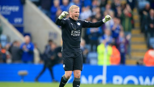 Leicester goalkeeper Kasper Schmeichel is keeping his feet firmly on the ground