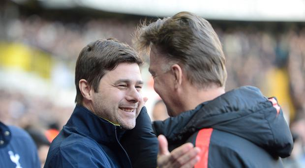 Mauricio Pochettino (left) and Louis van Gaal (right) go head to head on Sunday.