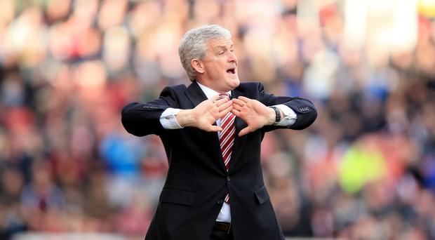 Mark Hughes' Stoke are pushing for a European place this season.