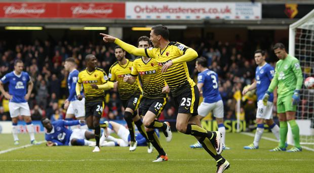 Jose Holebas reacts after scoring the equaliser for Watford in their 1-1 draw against Everton