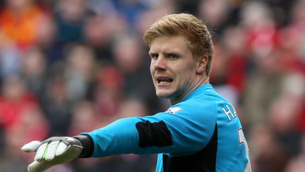 Jakob Haugaard, pictured, has taken over from the injured Jack Butland in goal for Stoke