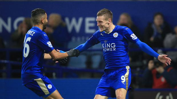 Jamie Vardy, right, and Riyad Mahrez are on the six-man shortlist for the PFA Players' Player of the Year award