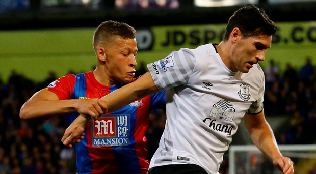 Man on: Dwight Gayle keeps a close eye on Gareth Barry