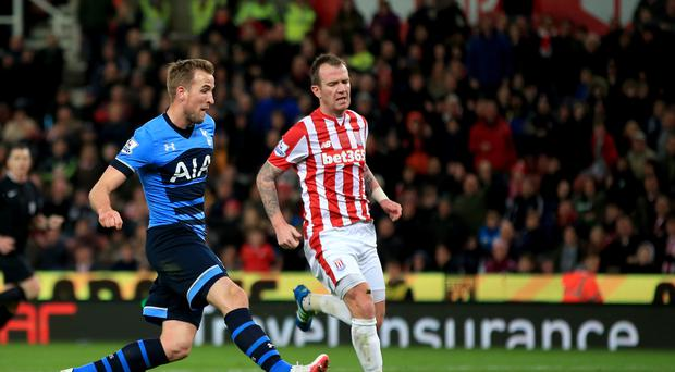 Tottenham's Harry Kane scores his side's third goal of the game during the 4-0 win at Stoke.