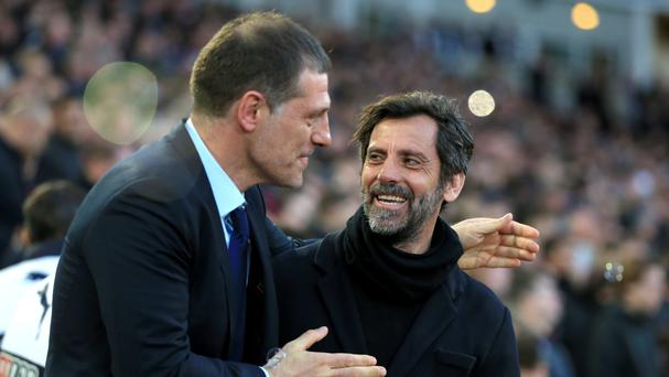 Watford manager Quique Sanchez Flores (right) saw his side beaten by Slaven Bilic's West Ham