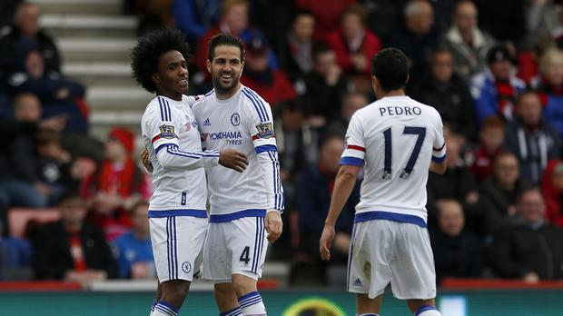 Chelsea's Cesc Fabregas (centre) put on a midfield masterclass against Bournemouth